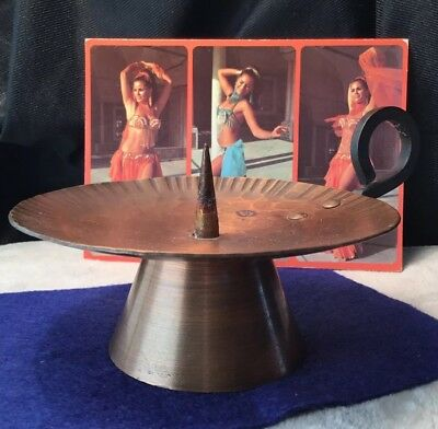 Funky Vintage Collectable MCM Artisan Made Beaten Copper Candle Holder