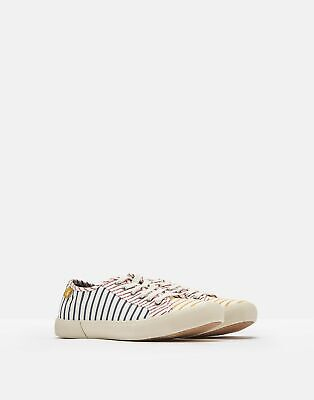 Joules Womens Coast Pump Canvas Lace Up Trainers in HOTCH POTCH STRIPE