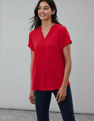 Joules Womens Reagan Cutwork Shell Top in RED LEMON