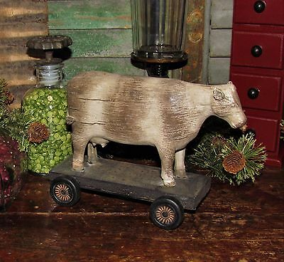 Prim Antique Vtg Pull Toy Style Dairy Farm Milk COW ON WHEELS Mother Day Gift
