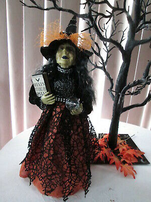 "18"" Halloween Witch w/ Crystal Ball & Hex & Potion Book Figurine-Tree Topper,NWT"