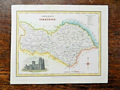 c1835 Yorkshire Map North Riding Fullarton York Minster Old Antique Map Whitby