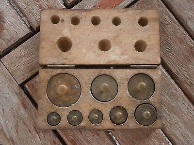 Antique Vintage Brass Balance Scale Weights A Full Lot Box With Stamp