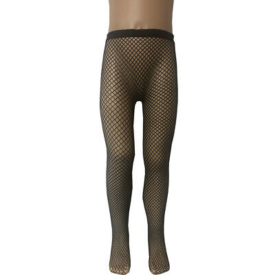 Girls Fishnet Dance Ballet Seamless Tights Halloween Black Medium Size Net NEW