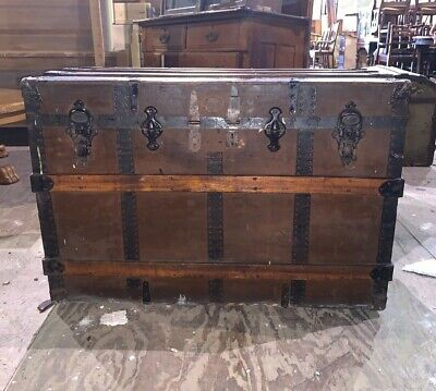 Large Antique Primitive Flat Top Wood Slat Steamer Railroad Vintage Trunk Chest