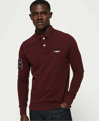 New Mens Superdry Classic Pique Long Sleeve Polo Shirt Boston Burgundy Marl