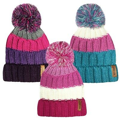 Girls Ribbed Striped Winter Hat Rockjock Thermal Insulation 3 Colours Hai409