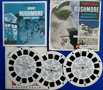 1966 View Master 3 Reels Set Mount Rushmore 4 Presidents Booklet Envelope A4871