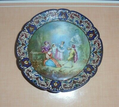 Antique French Champleve Circular Waiter w/Hand-Painted Central Porcelain Panel