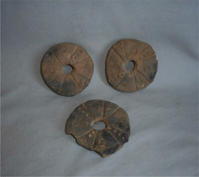 Antique Near East TOP HIGH AGED CLAY NEOLITHIC OR BRONZE AGE IDOL CART WHEELS