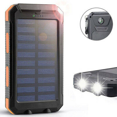 Solar LED 500000mAh Power Bank Charger Case Waterproof Dual USB+No BatPHMYY