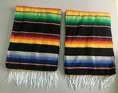 TWO PIECE SERAPE SET ,5' X 7',Mexican Blanket,HOT ROD,Covers, XXL ,BLACK MIX #2