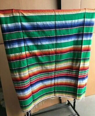 Serape XXL,5' X 7',Mexican Blanket,HOT ROD, Seat Covers,Motorcycle, BRIGHT GREEN