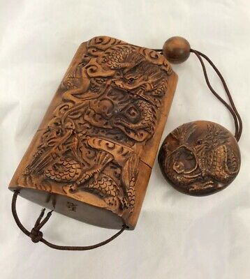 EXQUISITE JAPANESE DRAGON HAND CARVED NETSUKE INRO BOXWOOD EARLY 20th CENTURY