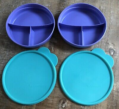 Tupperware Round Divided Dish Bowl Lid Travel Snack Lunch Purple Teal 2552