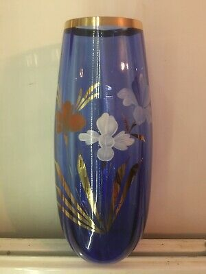 Large and Fantastic Flower Decorated Iridescent Vase in Blue & Gold Hand Painted