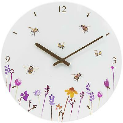30cm Glass Wall Clock Large White Flowers Busy Bees Floral Design Jennifer Rose