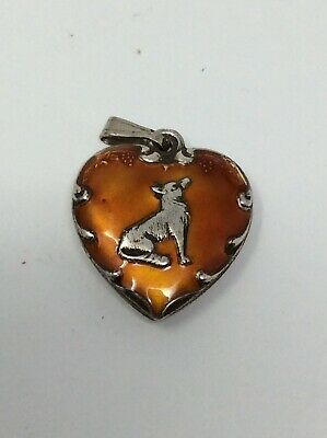 Vintage Sterling Silver Orange Enamel Howling Wolf Puffy Heart NICE!