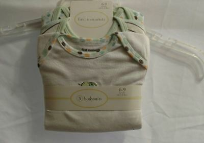 NEW First Moments Set of 3 Baby Bodysuits 6 to 9 Months Neutral Colors Boy Girl