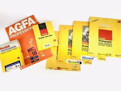 Lot of 8 Partial Packs & Boxes Kodak Agfa Photographic Paper most are heavy