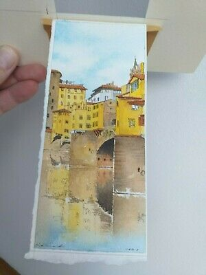 SMALL DETAILED watercolour painting picture pictures ITALIAN il ponte vecchio