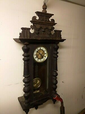 Vienna wall clock turned wood and walnut or mahogany trim cased ANTIQUE c. 1900