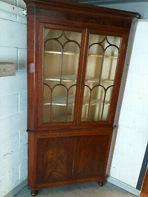 LARGE ANTIQUE Georgian regency CORNER DISPLAY cupboard CABINET mahogany inlaid