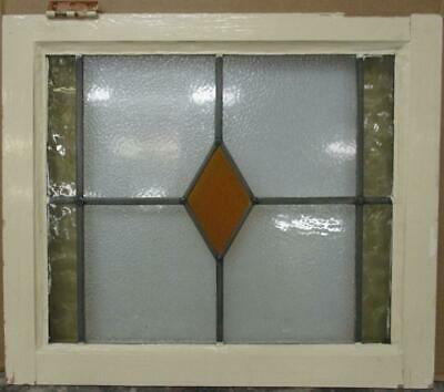 "MIDSIZE OLD ENGLISH LEAD STAINED GLASS WINDOW Pretty Diamond Design 23"" x 19.5"""