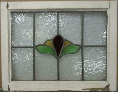 "MIDSIZE OLD ENGLISH LEADED STAINED GLASS WINDOW Abstract Floral 24"" x 18.75"""