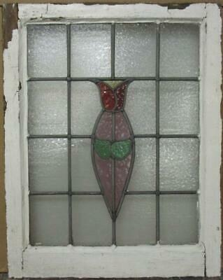 "MIDSIZE OLD ENGLISH LEADED STAINED GLASS WINDOW Pretty Tulip Design 20"" x 25.25"""