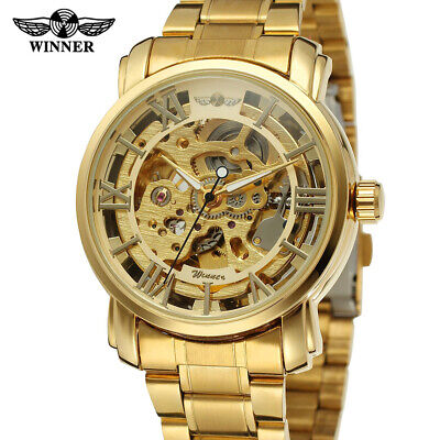 Luxury Men's Stainless Steel Hollow Mechanical Automatic Skeleton Wrist Watch US