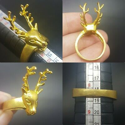 Beautiful deer head gold plated lovely ring