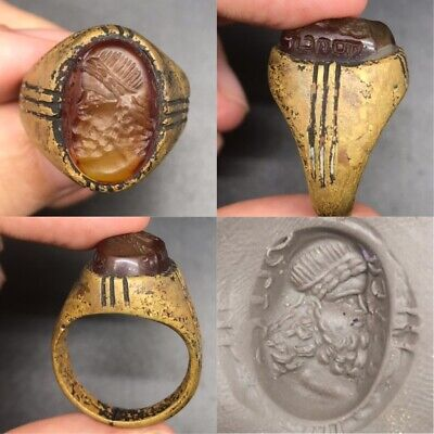 Ancient king intaglio old agate stone old bronze antique ring