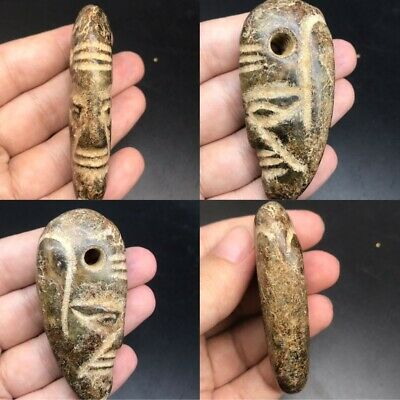 Wonderful unique old jade stone face amulet bead pendant