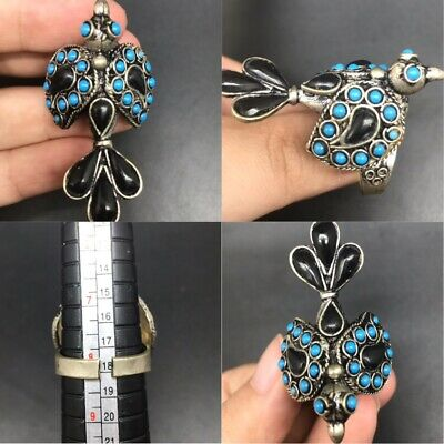 Beautiful silver plated with blue and black stones lovely bird ring