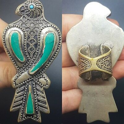 Lovely turquoise silver plated eagle bird ring