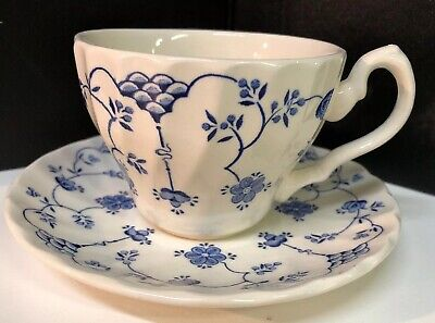 Myott Staffordshire Cup and Saucer - Finlandia Blue/White Pattern