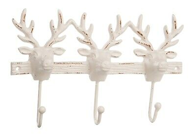 Stag Deer Head Triple Wall Hooks Painted Cast Iron