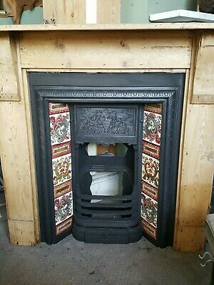 Original Tiles Cast Iron Victorian Fireplace And Timber Mantle I DELIVER