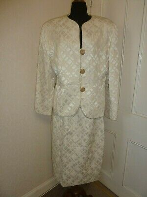 Vintage Anthea Crawford 2 Piece Skirt Suit Size 16 White Gold Classic 80s Style