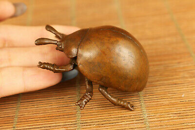 chinese old red copper casting insect statue figure
