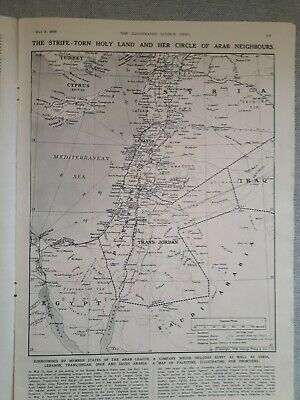 Palestine Cyprus Map The Illustrated London News 1948