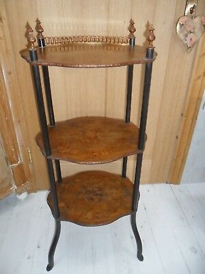 Antique Victorian Inlaid Walnut Whatnot