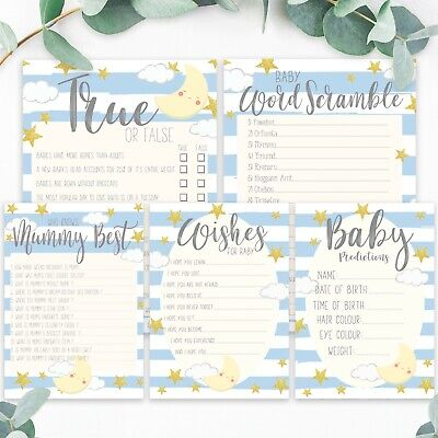 BABY SHOWER GAMES- Blue Baby Boy Favours Predictions Card Who Knows Mummy Best