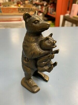 Vintage Cast Iron Bear Stealing Pig Bank! Nice!!