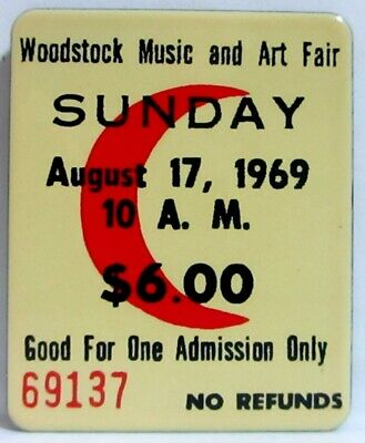 """New Ande Rooney Porcelain Magnet Woodstock Sunday August 17 1969  1 5/8"""" X 2"""""""