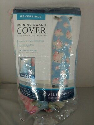 """Bed Bath Beyond Reversible Extra Thick Ironing Board Pad Cover Blue 54""""x15"""""""