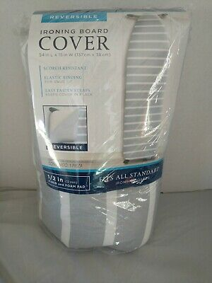 """Bed Bath Beyond Reversible Extra Thick Ironing Board Pad Cover Gray 54""""x15"""""""
