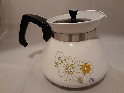 Vintage Corning Ware 6 Cup Stove Top Coffee Tea Pot Floral Bouquet Daisy