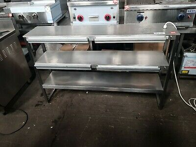 Commercial S/Steel Triple Shelved Chefs Pass Through Heated Gantry Unit - VGC